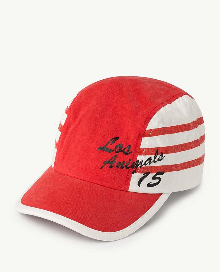 Stripes Hamster Kids Cap Red Apple Los Animal