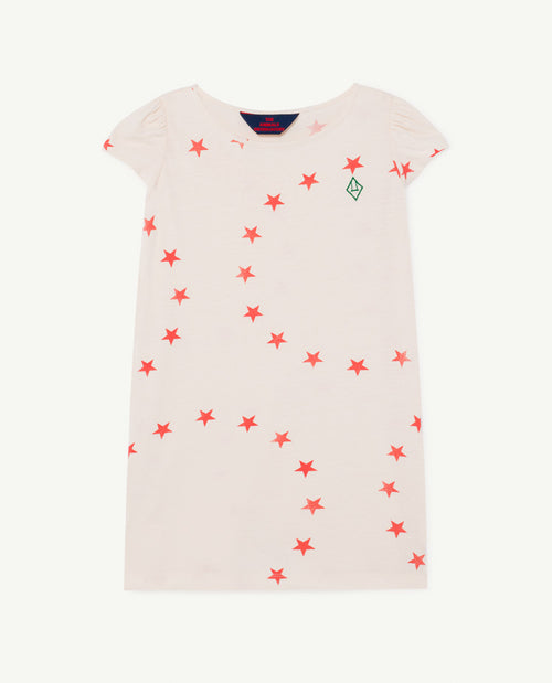 Flamingo Kids Dress White Stars