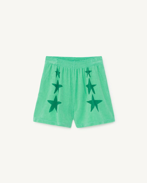 Poodle Kids Shorts Green Stars