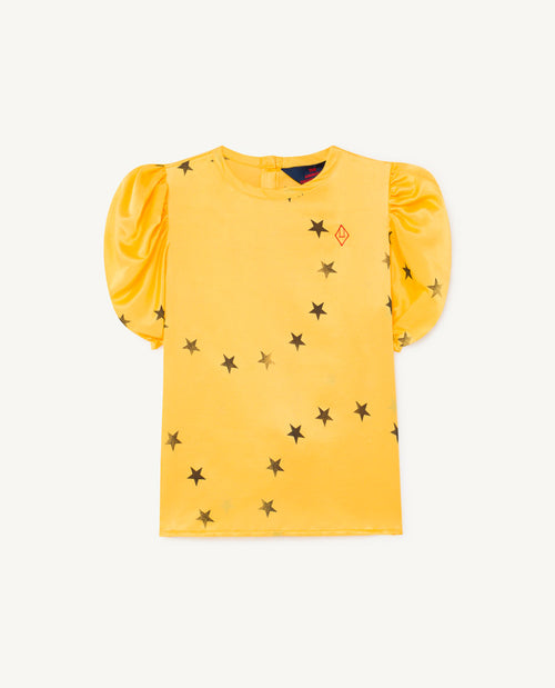 Silky Canary Kids Blouse Yellow Stars