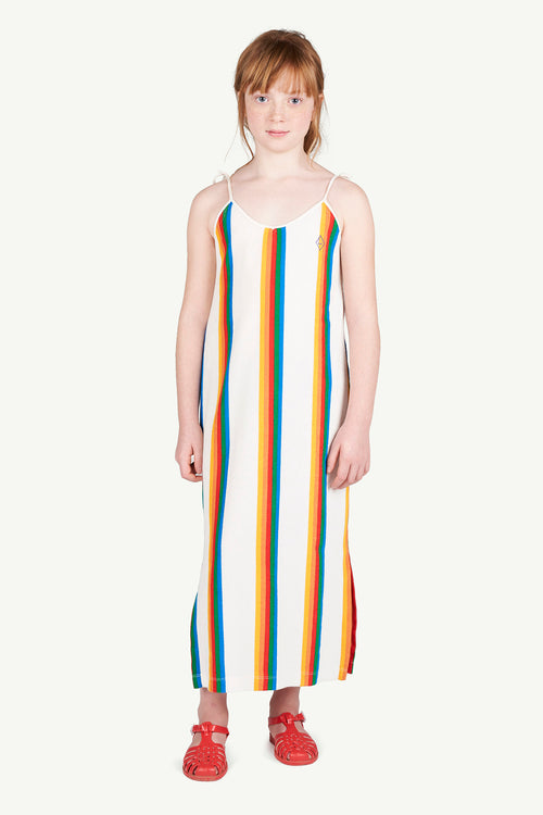 Hummingbird Kids Dress White Rainbow