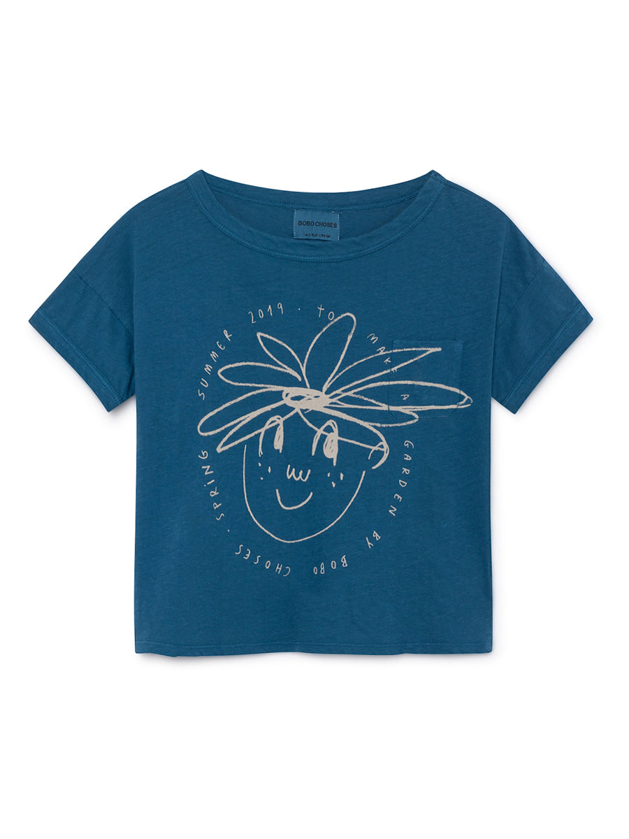 Bobo Choses Boy Daisy Short Linen T-Shirt