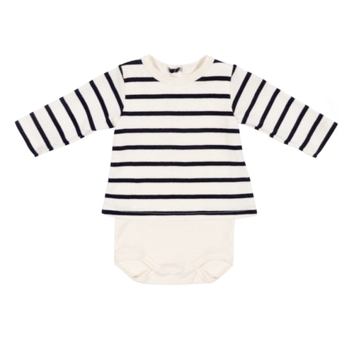 BABY BOYS WHITE/BLACK STRIPES TRACKSUIT