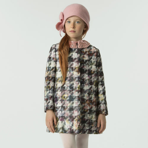 Girls MULTICOLOR houndstooth COAT
