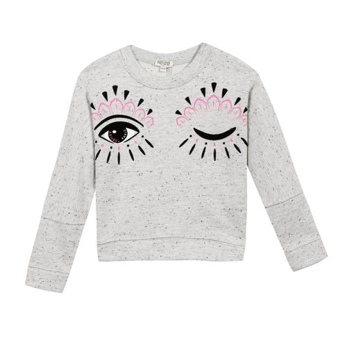 GIRLS SPECKLED GREY CECILE O SWEATSHIRT