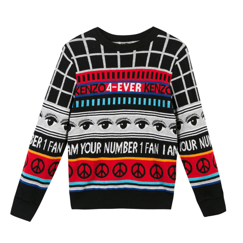 BOYS BLACK/MULTICOLOR SWEATER