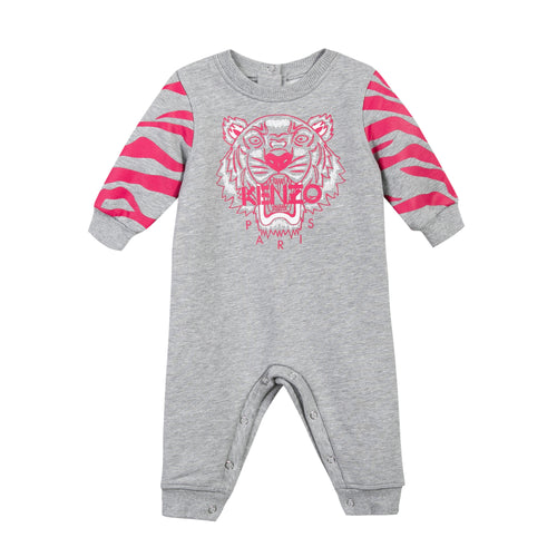 BABY GIRLS LIGHT MARLED GREY TIGER PLAYSUIT