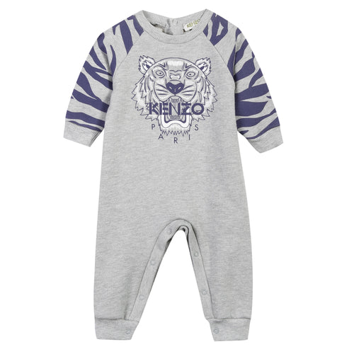 BABY BOYS MARLED GREY TIGER PLAYSUIT