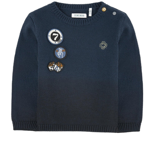 BOYS OMBRE SWEATER WITH PATCHES LUCKY BLUE