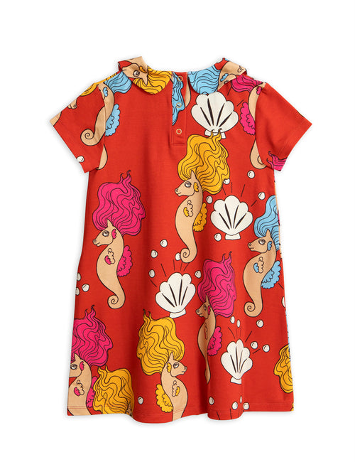 Seahorse Collar SS Dress Red