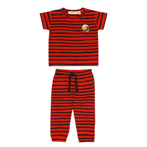 Baby AOP Ribbon Big Flame Scarlet Baby Ashton T-shirt and Pants Set