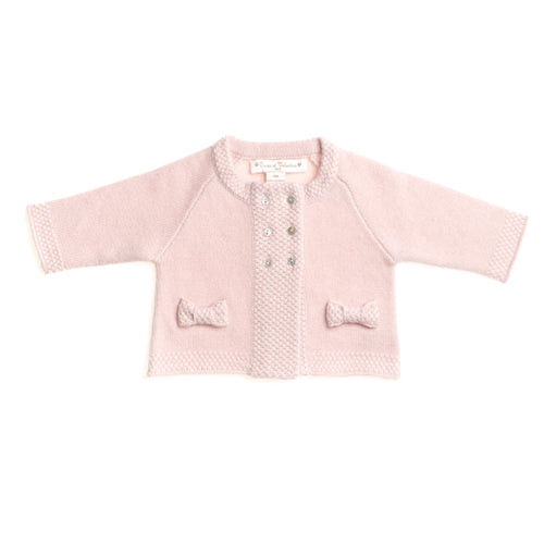 GIRLS PINK CASHMERE DOUBLE-BREASTED CARDIGAN