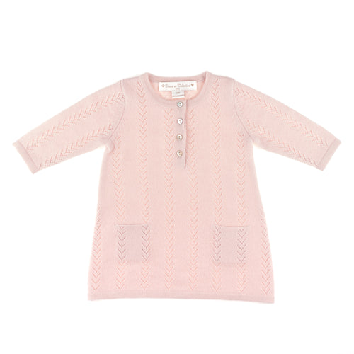 GIRLS PINK CASHMERE SWEATER DRESS