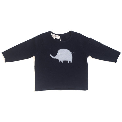 BOYS/GIRLS Unisex NAVY BLUE CASHMERE ELEPHANT SWEATER