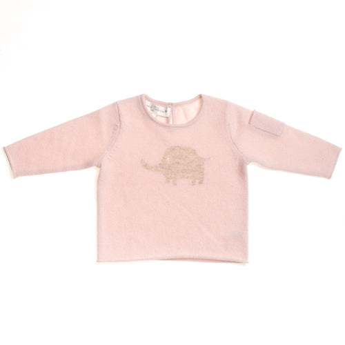 GIRLS PINK CASHMERE ELEPHANT SWEATER