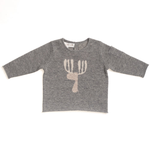 BOYS/GIRLS UNISEX GREY CASHMERE CERF SWEATER