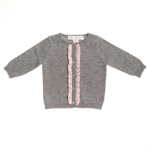 GIRLS GREY PINK CASHMERE CARDIGAN