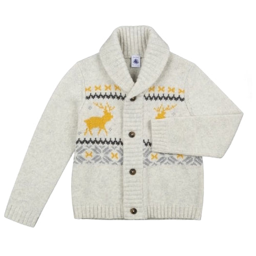 BOYS WHITE/MULTICOLOR CARDIGAN