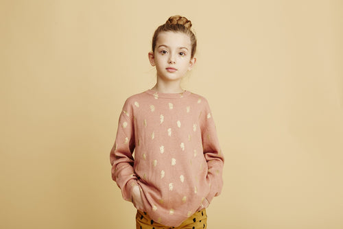 Girls Peach Beige Leonia Sweater