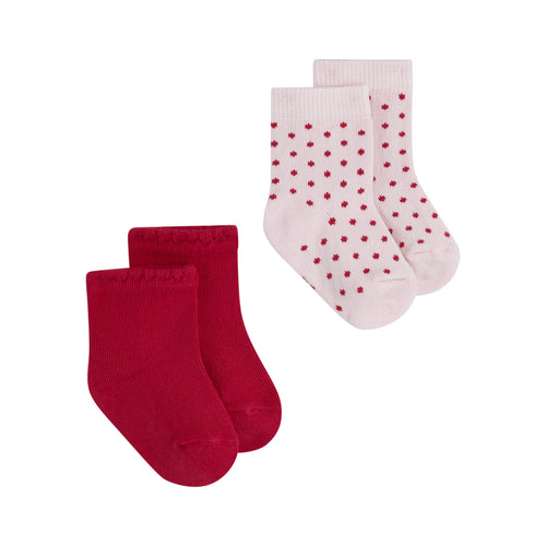 Baby Girls Pink Dots/Plain SOCKS (2 PAIRS)