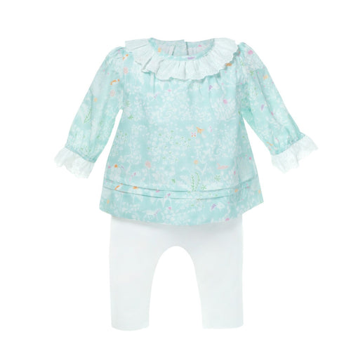 Baby Green Top/ White Pants Set