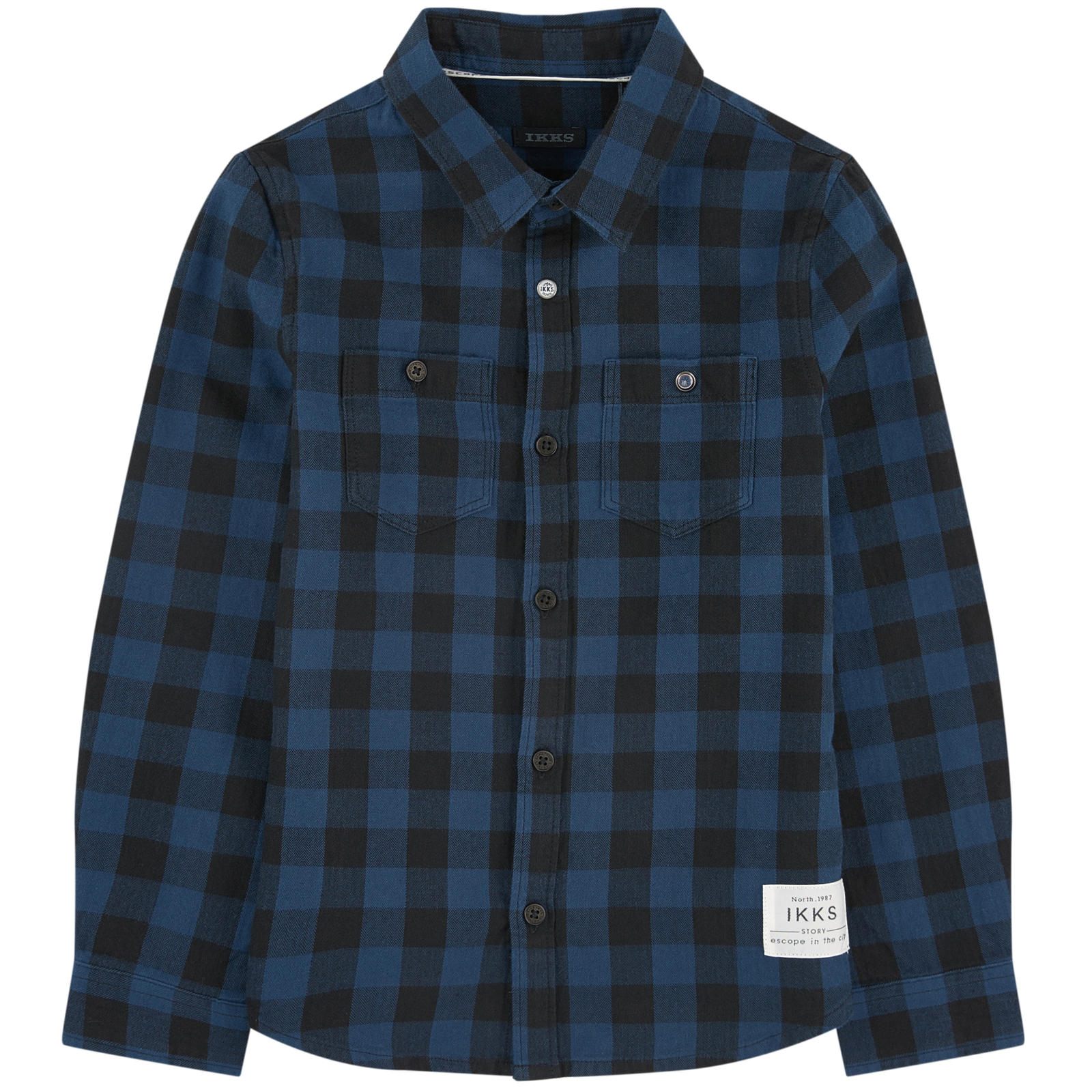 BOYS CHECKED FLANNEL SHIRT BLUE BLACK