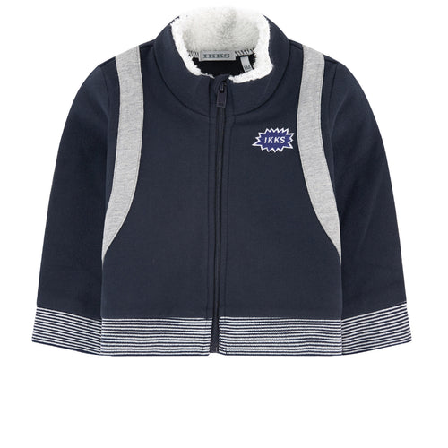 BOYS FAUX ROCKET BACK PACK ZIP UP SWEATSHIRT JACKET NAVY