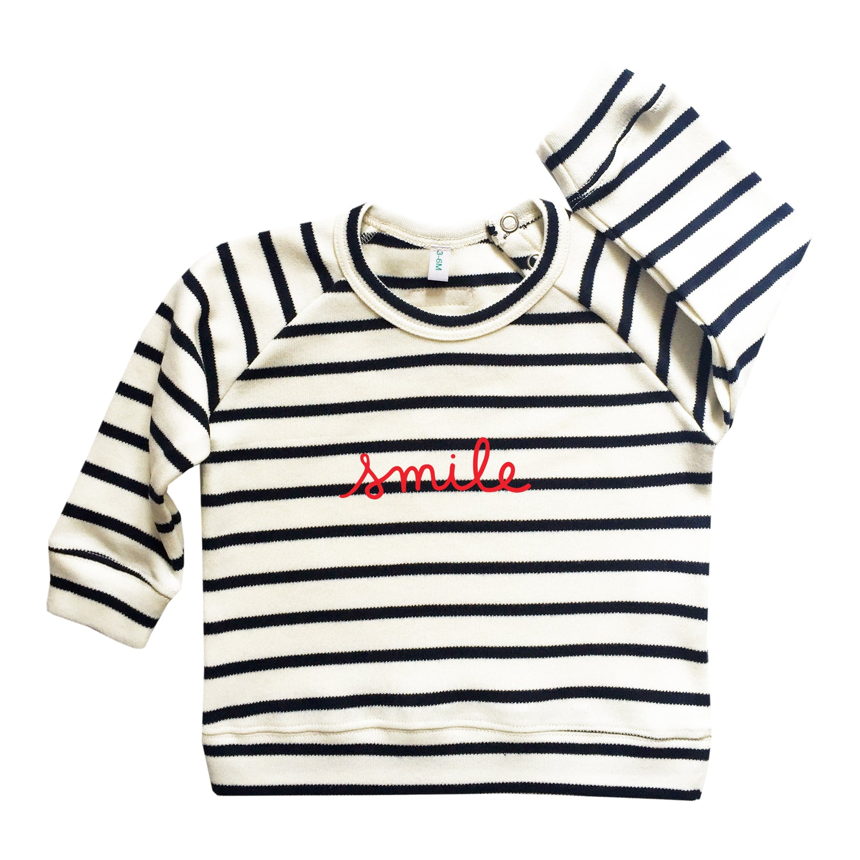 Baby Organic Black Striped Smile Sweatshirt