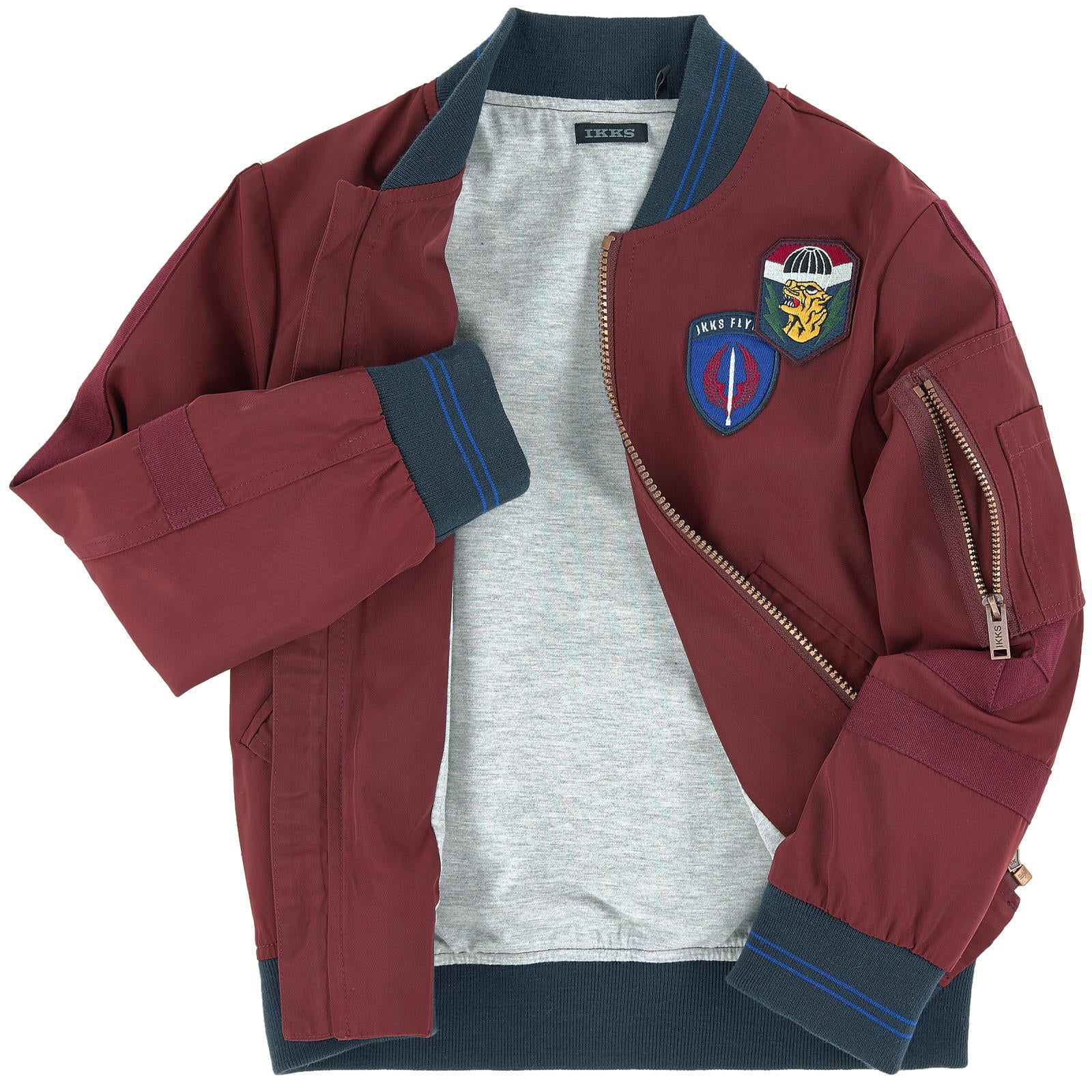 BOYS BOMBER JACKET WITH PATCHES
