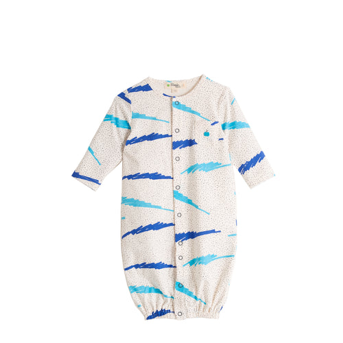 BABY BOY BLUE SCRIBBLE WAVES PRINTED CONVERTIBLE PLAYSUIT /GOWN