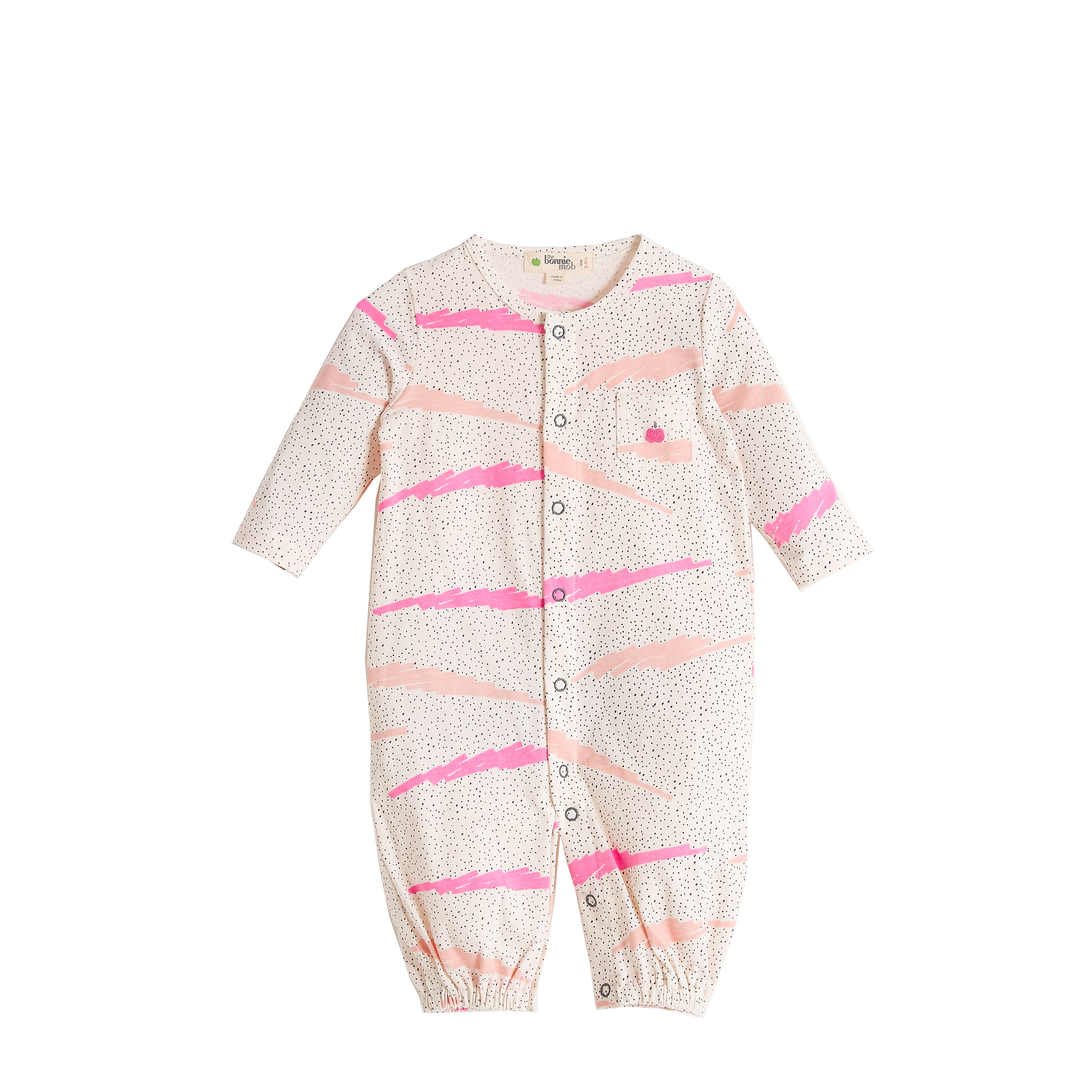 BABY GIRL PINK SCRIBBLE WAVES PRINTED CONVERTIBLE PLAYSUIT /GOWN