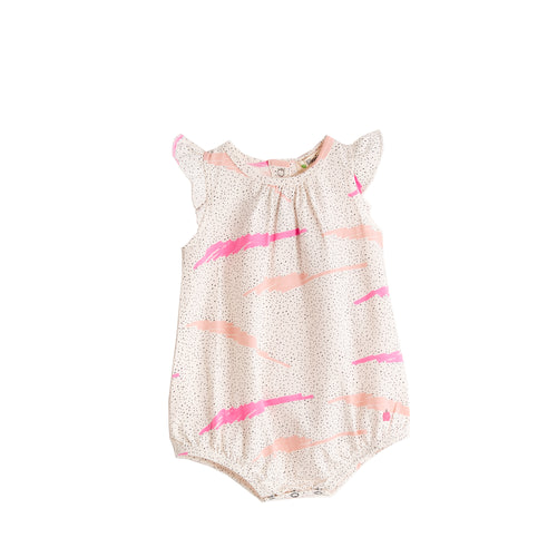 Baby Girl Pink Scribble Waves Print Romper