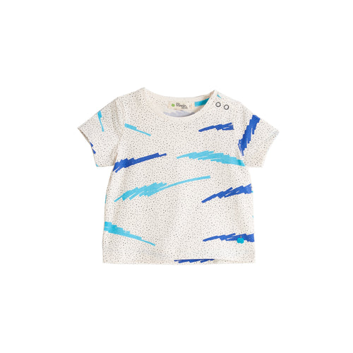 BABY BOY BLUE SCRIBBLE WAVES PRINTED SHORT SLEEVE T SHIRT