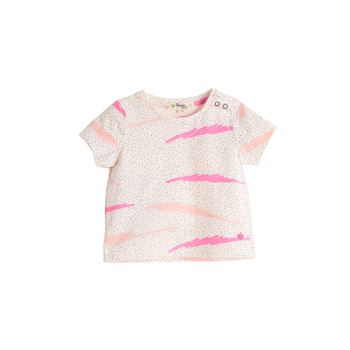 BABY GIRL PINK SCRIBBLE WAVES PRINTED SHORT SLEEVE T SHIRT
