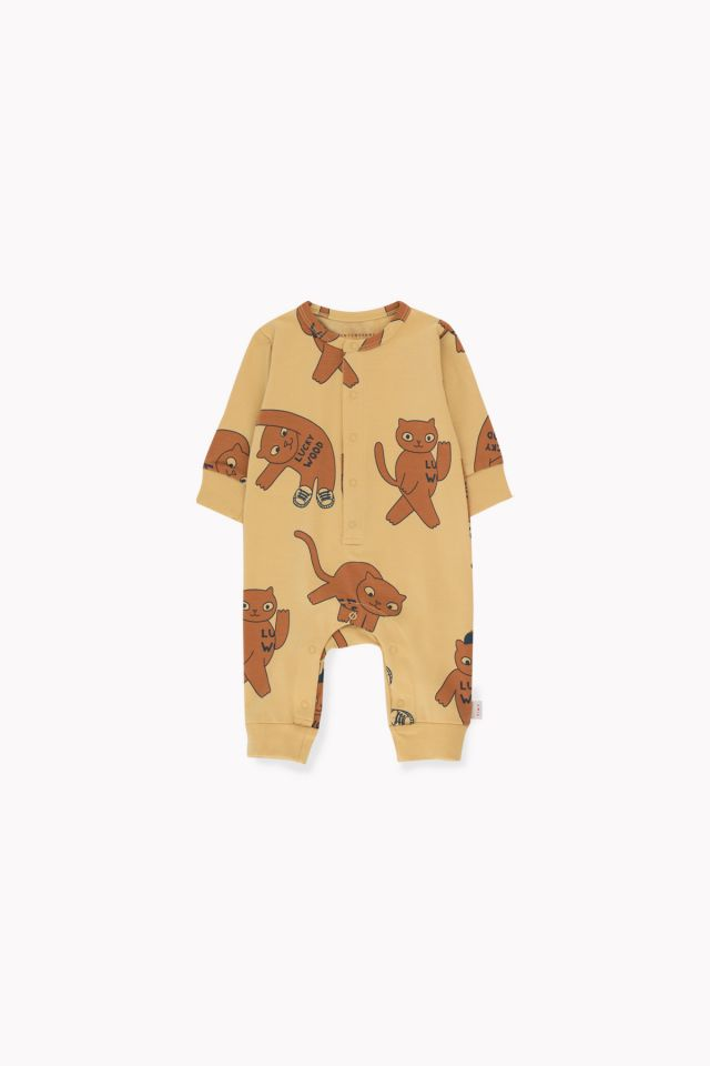 """Cats"" One-Piece  Sand/Brown"