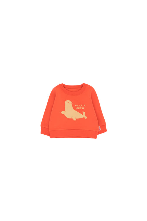 """Seal"" Sweatshirt  Red/Sand"