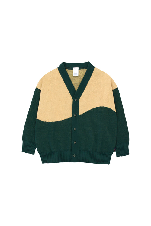"""Sunset"" Cardigan  Bottle Green/Sand"