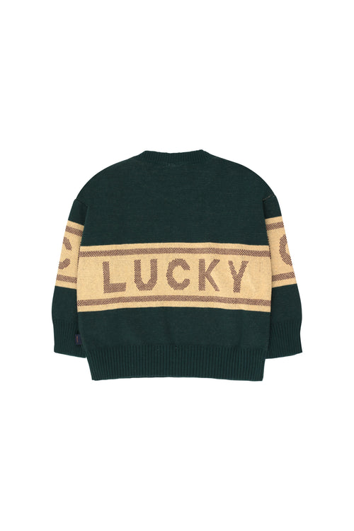 """Lucky"" Sweater  Bottle Green/Sand"