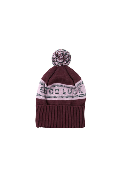 """Good Luck"" Beanie  Aubergine/Light Lilac"