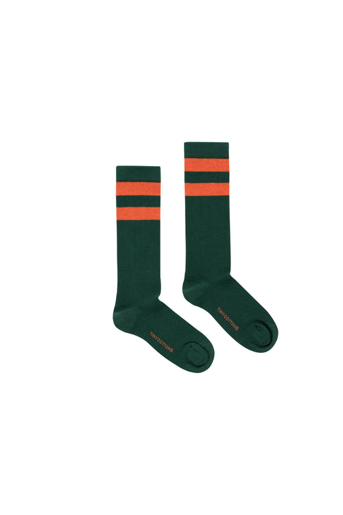 Stripes High Socks  Bottle Green/Red