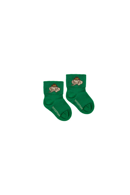 """Luckyphant"" Medium Socks  Deep Green/Sand"