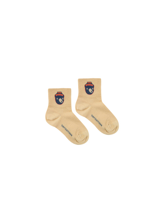 """Bear"" Medium Socks  Sand/True Navy"