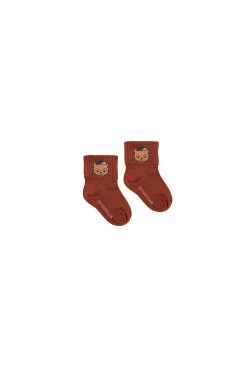 """Cat"" Medium Socks  Dark Brown/Brown"