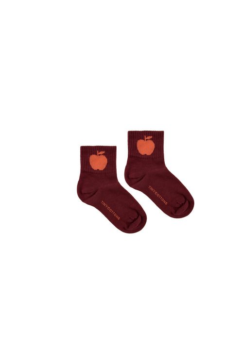 """Apple"" Medium Socks  Aubergine/Red"