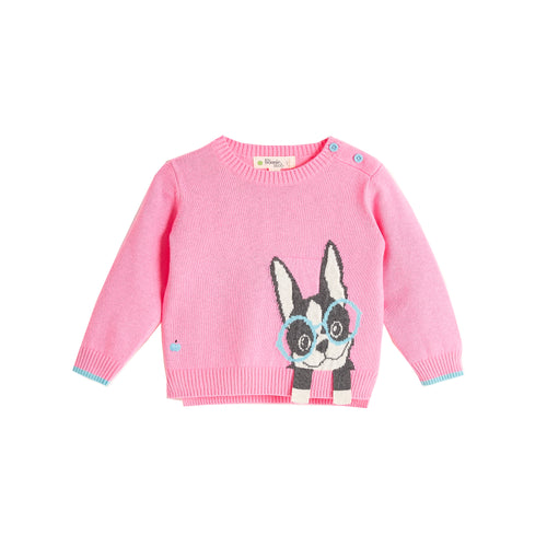 BABY GIRL PINK SURF DOG INTARSIA SWEATER