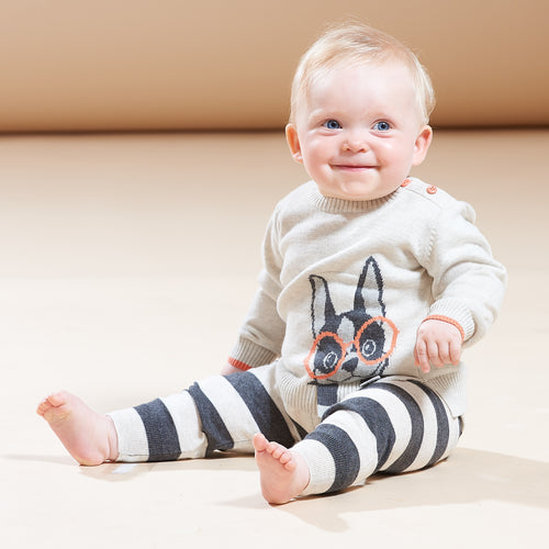 BABY BOY/GIRL PUTTY SURF DOG INTARSIA SWEATER