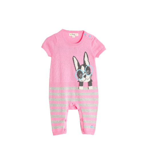 BABY GIRL PINK SURF DOG INTARSIA PLAYSUIT