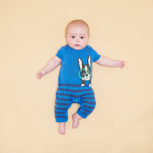 BABY BOY BLUE SURF DOG INTARSIA PLAYSUIT
