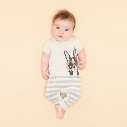 BABY BOY/GIRL PUTTY SURF DOG INTARSIA PLAYSUIT