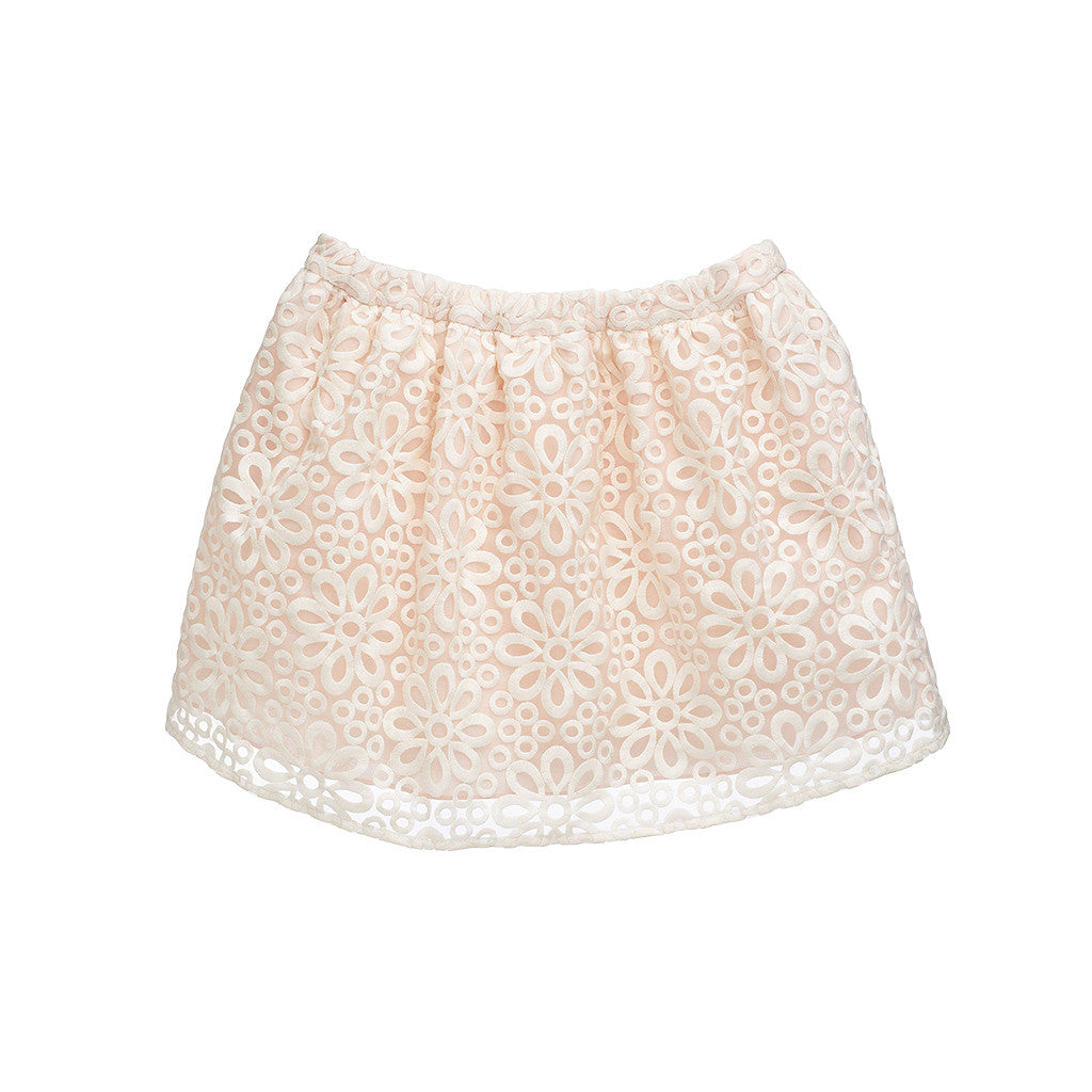 Girls Battenburg Lace Gathered Skirt